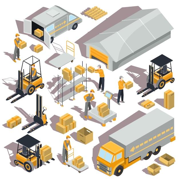 Service Supply Transfer : Ícones isométricos de logistica vetor e entrega