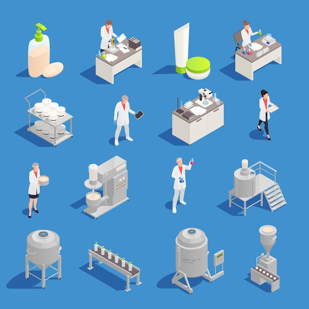 Ícones isométricos de produção de cosméticos e detergentes com equipamento de fábrica e laboratório isolado Vetor grátis