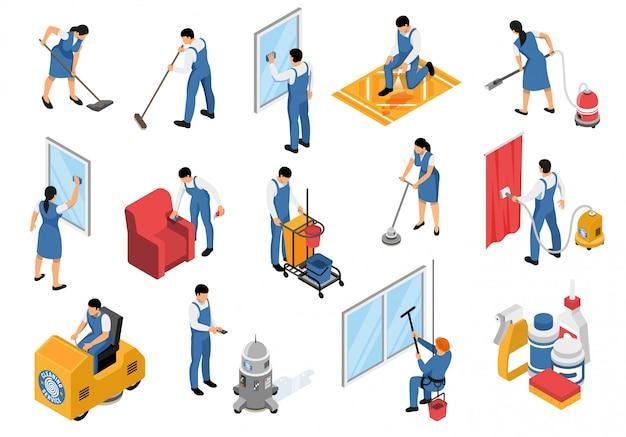 Ícones isométricos de serviço de limpeza conjunto com tapetes de mobiliário profissional de aspirar industrial, refrescante mancha removendo ilustração vetorial isolado Vetor grátis