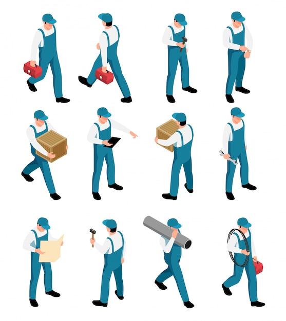 Ícones isométricos de trabalhadores conjunto com personagens masculinos de uniforme com ferramentas em poses diferentes isolados Vetor grátis