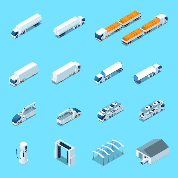 Ícones isométricos de veículos elétricos futuristas Vetor grátis