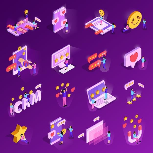 Ícones isométricos do sistema crm com caracteres humanos, elementos de classificação de tecnologia de computador isolados em roxo Vetor grátis