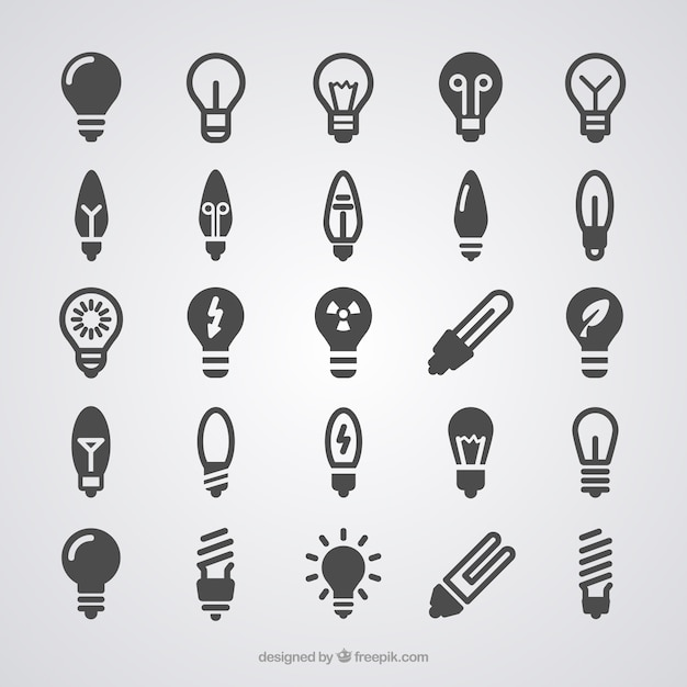 Ícones light bulb Vetor grátis