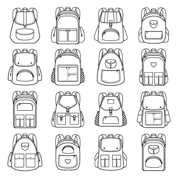 Ícones lineares de pacote de saco. vector linha mochilas para viagens e caminhadas, estudantes e escola Vetor Premium