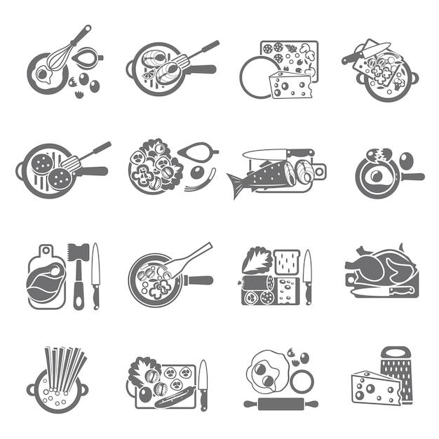 Ícones lisos conceito de culinária caseira saudável conjunto com carne de legumes e pratos de peixe Vetor grátis