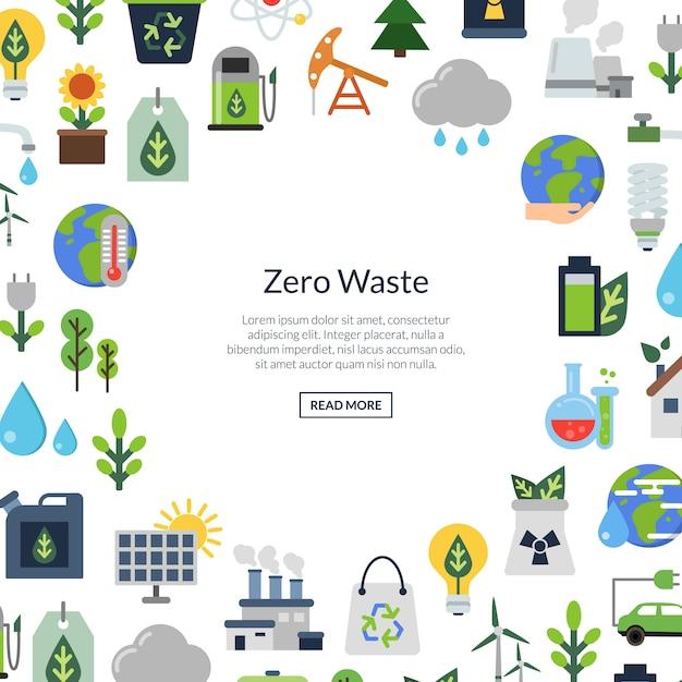 Ícones lisos da ecologia, ambiente da ecologia, energia da natureza e desperdício zero Vetor Premium