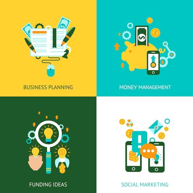 Ícones lisos de conceito de análise de negócios Vetor grátis