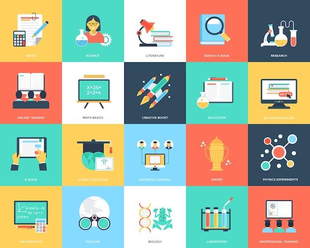 Ícones lisos de educação criativa Vetor Premium