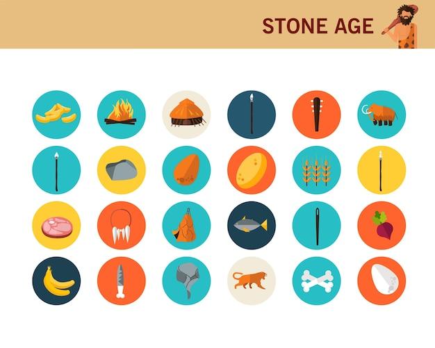 Ícones lisos do conceito da idade da pedra. Vetor Premium