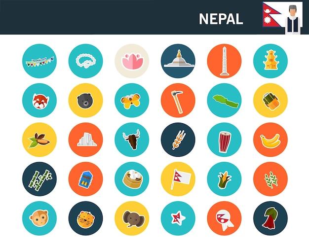 Ícones lisos do conceito de nepal Vetor Premium