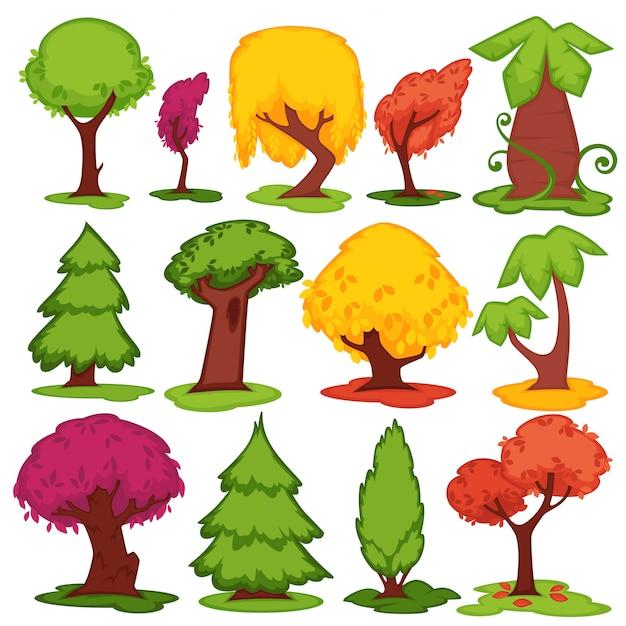 Ícones lisos do vetor das árvores coníferos, grupo decíduo dos desenhos animados. Vetor Premium