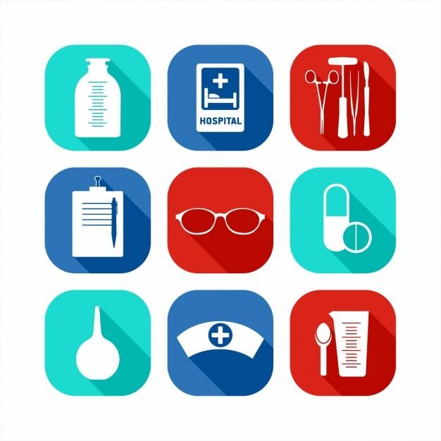 Ícones médicos planas definir Vetor grátis