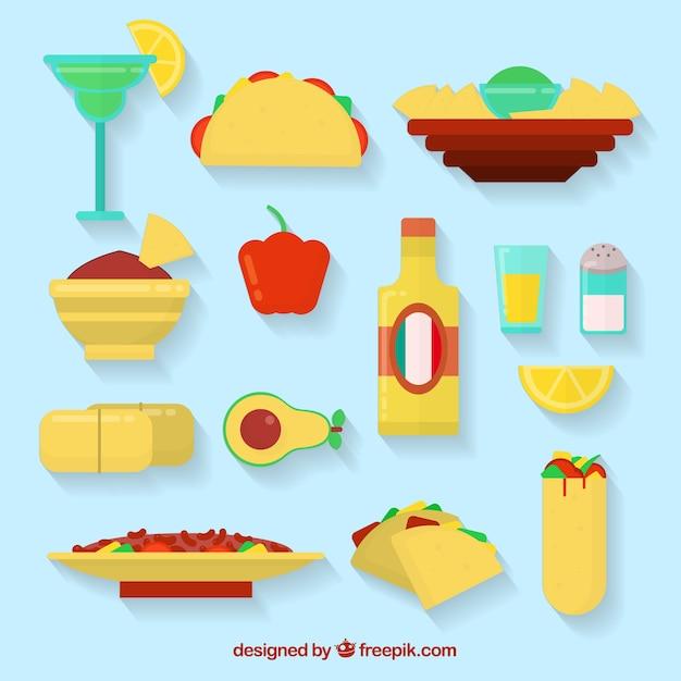 Ícones mexicanos do alimento Vetor grátis