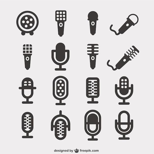 Ícones microfone embalar Vetor grátis