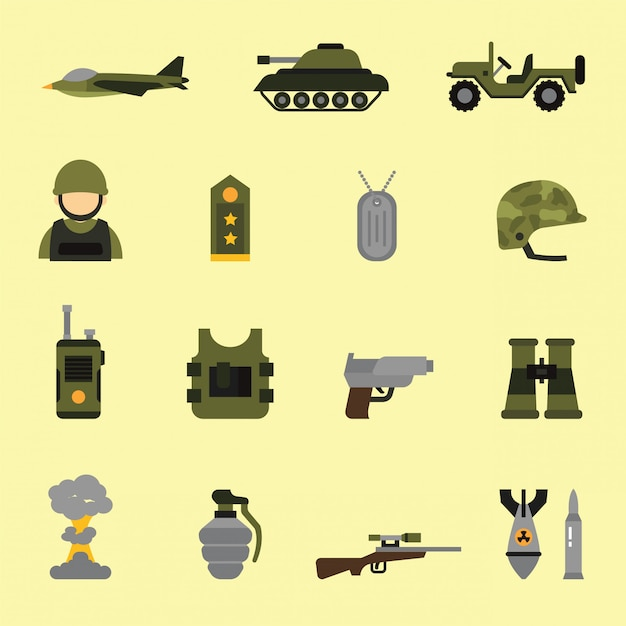 Ícones militares e armas em estilo de cor lisa Vetor Premium