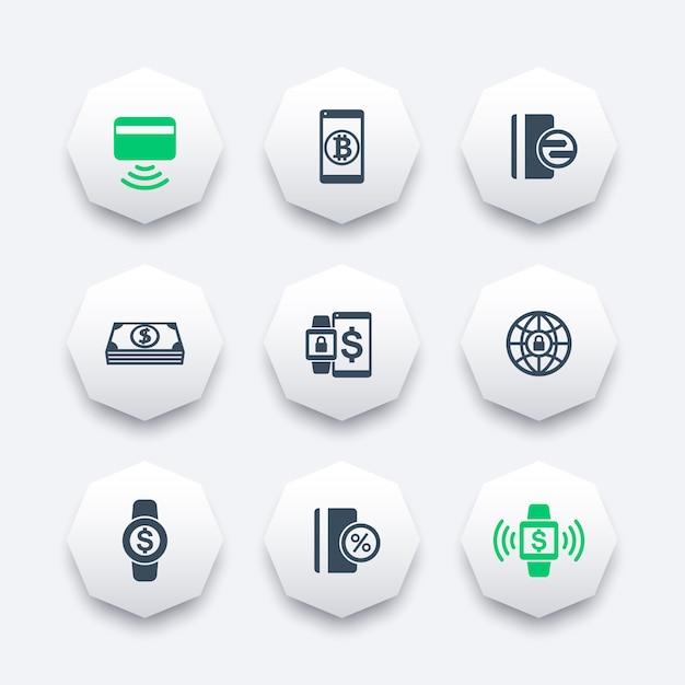 Ícones modernos métodos de pagamento em formas de octógono, cartão sem contato, pagamento com dispositivos vestíveis, ilustração Vetor Premium