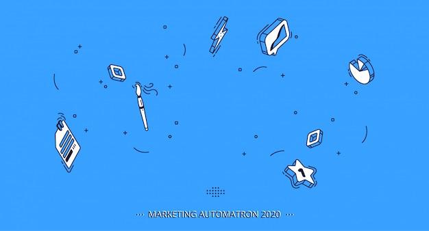 Ícones móveis isométricos para negócios, marketing Vetor grátis