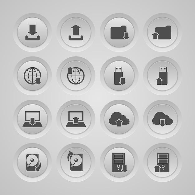 Ícones no armazenamento de dados Vetor grátis