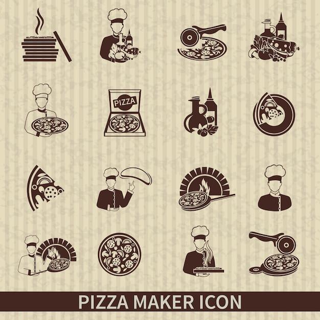 Ícones pizzaiolo Vetor grátis