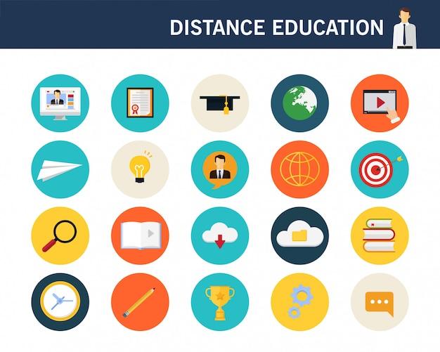 Ícones plana de conceito de educação distância Vetor Premium