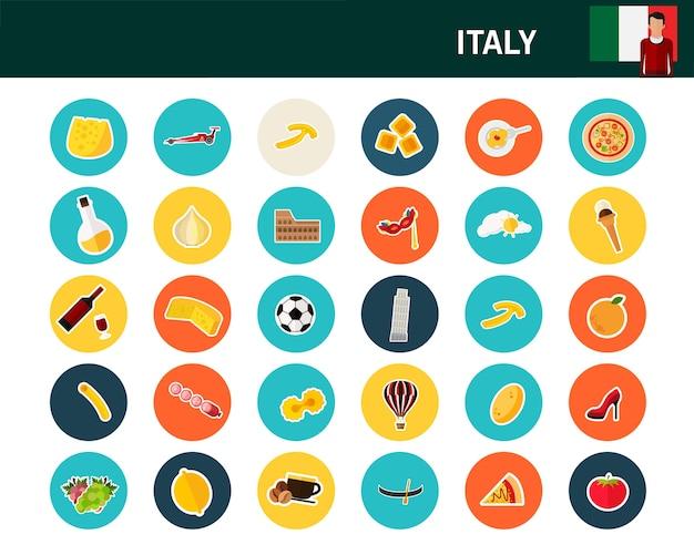 Ícones plana de conceito de itália Vetor Premium