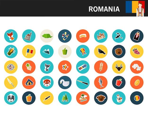 Ícones plana de conceito de roménia Vetor Premium