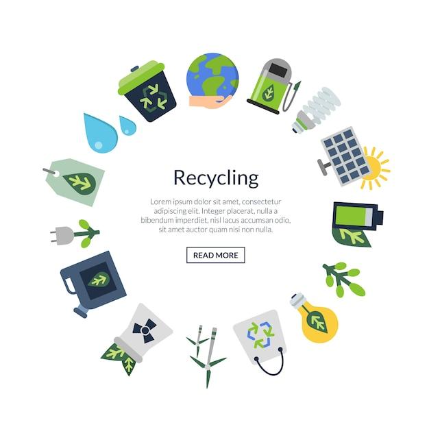Ícones plana de ecologia em forma de círculo com lugar para texto no centro Vetor Premium