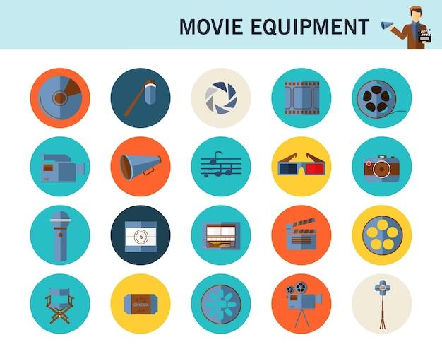 Ícones planas de conceito de equipamento de filme. Vetor Premium