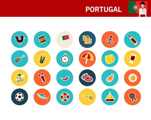 Ícones planas de conceito de portugal Vetor Premium