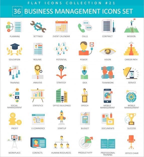 Ícones planas de cor de gestão de negócios Vetor Premium