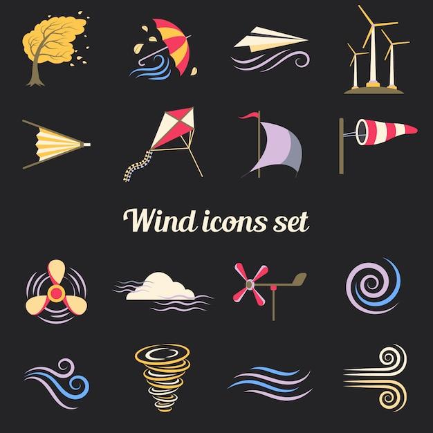 Ícones planas de cor de vento Vetor grátis