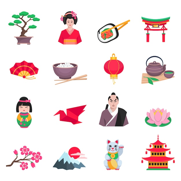 Ícones planas de cultura japonesa Vetor grátis