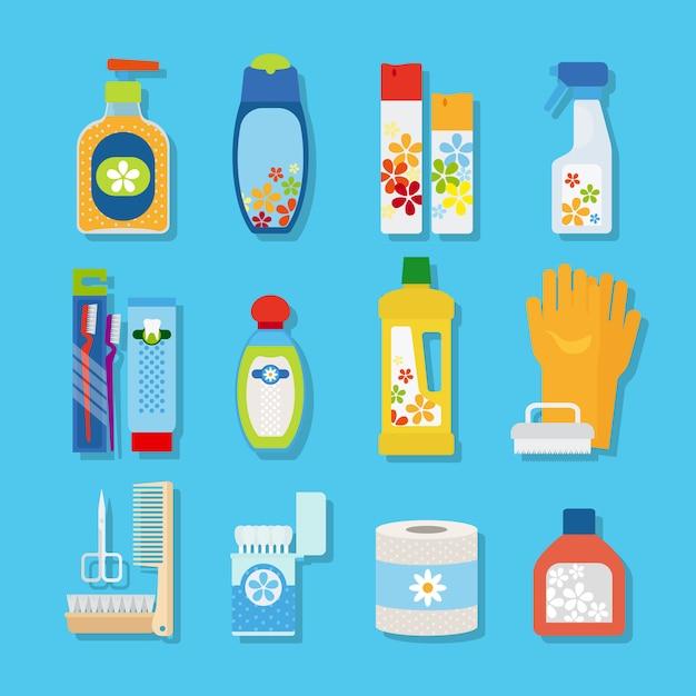 Ícones planas de higiene e produtos de limpeza Vetor Premium