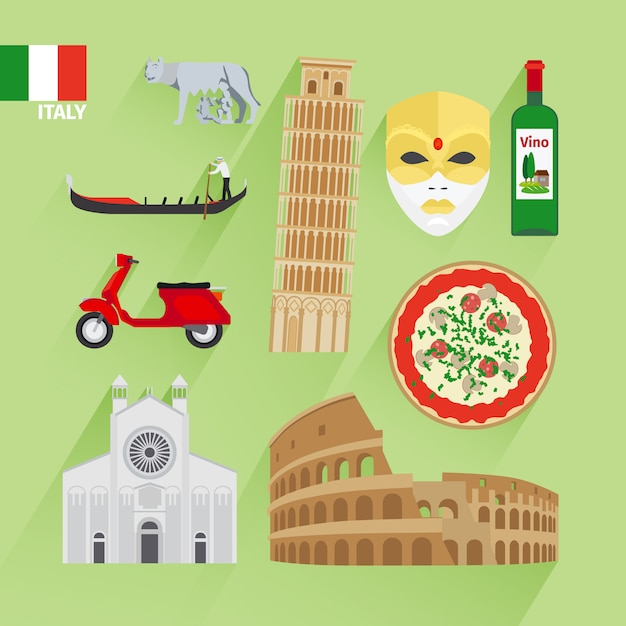 Ícones planas de itália Vetor Premium