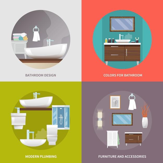 Ícones planas de móveis de casa de banho Vetor grátis