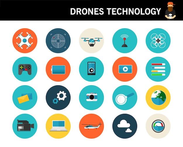 Ícones planas do conceito de tecnologia de drones Vetor Premium