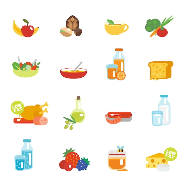 Ícones planos de alimentação saudável Vetor grátis