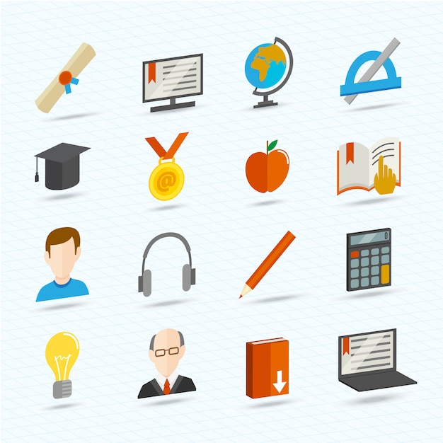 Ícones planos de aprendizagem Vetor grátis