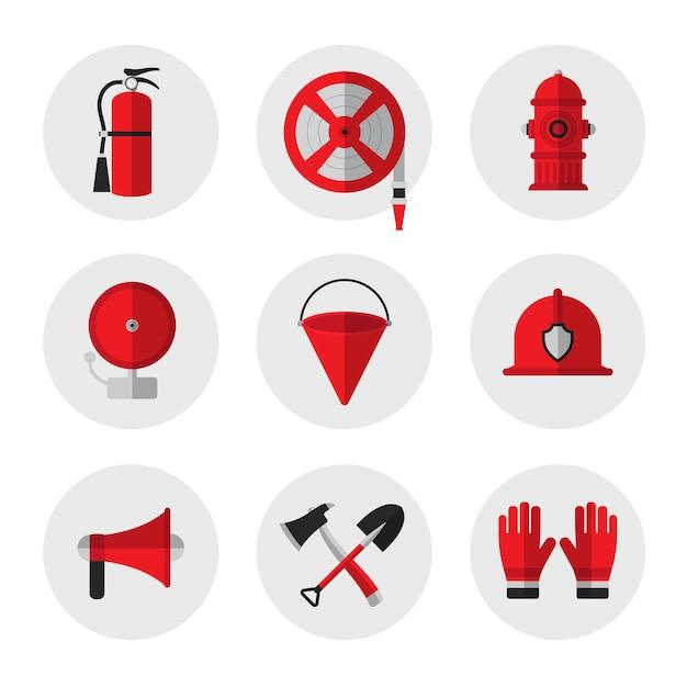 Ícones planos de combate a incêndio e fogo. extintor de incêndio, bobina de mangueira, hidrante, alarme de alarme, balde de fogo metálico, capacete, megafone, pá e machado, luvas. ilustração do vetor. Vetor Premium