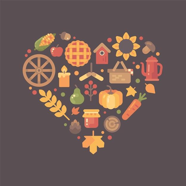 Ícones planos do outono arranjados na forma do coração. conjunto de item de queda colorido Vetor Premium