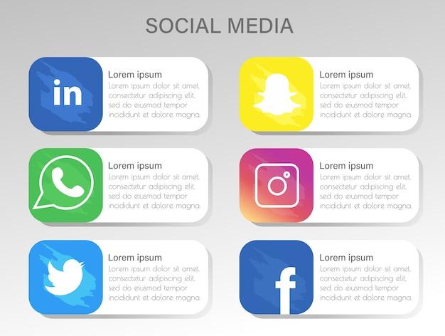 Ícones populares de mídia social com cores realistas Vetor Premium