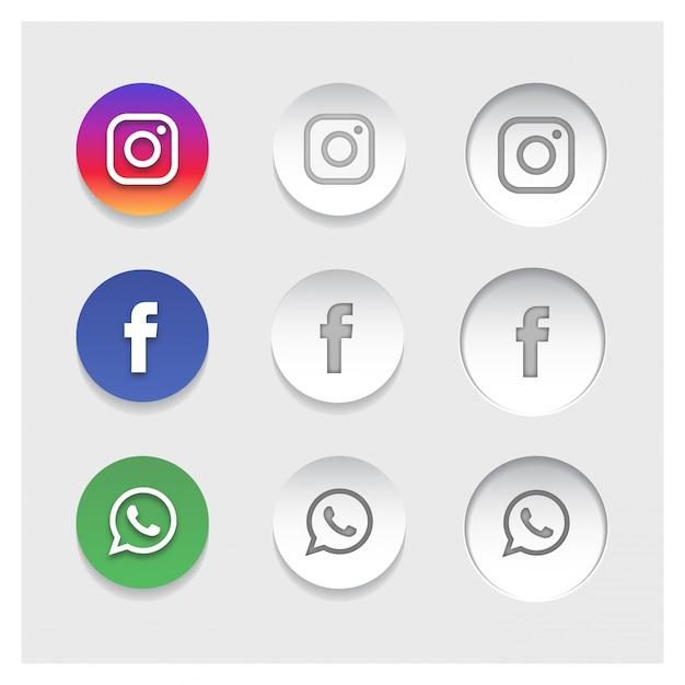 Ícones populares de redes sociais Vetor grátis