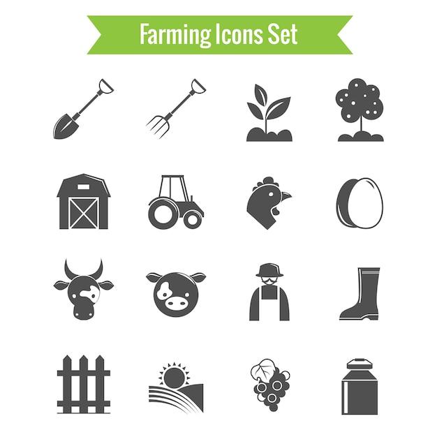 Ícones preto e branco fazenda Vetor grátis