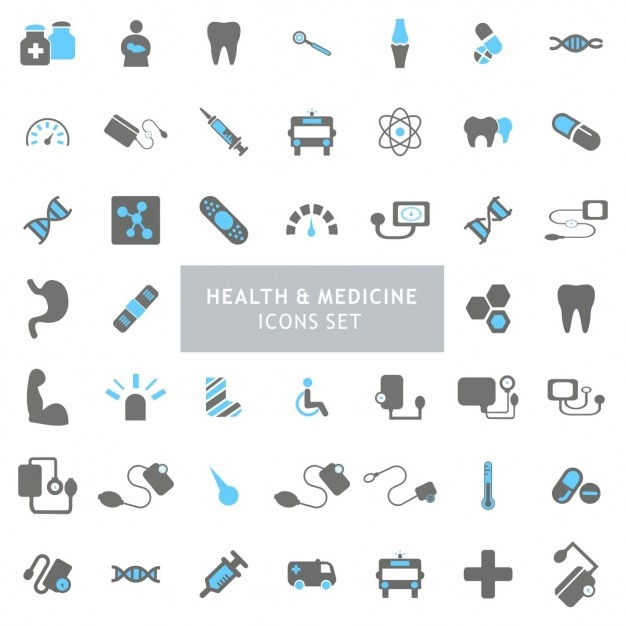 Ícones preto e saúde azul definir Vetor grátis