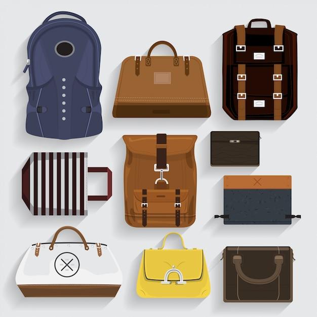 Ícones sacos de couro, tecido, pasta com estilo. Vetor Premium