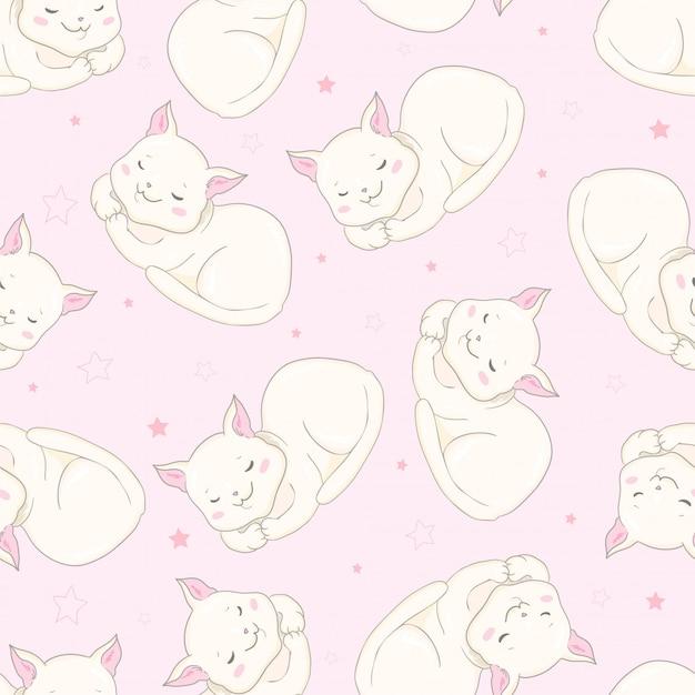 Ícones sem emenda do animal de estimação de gatos bonitos Vetor Premium