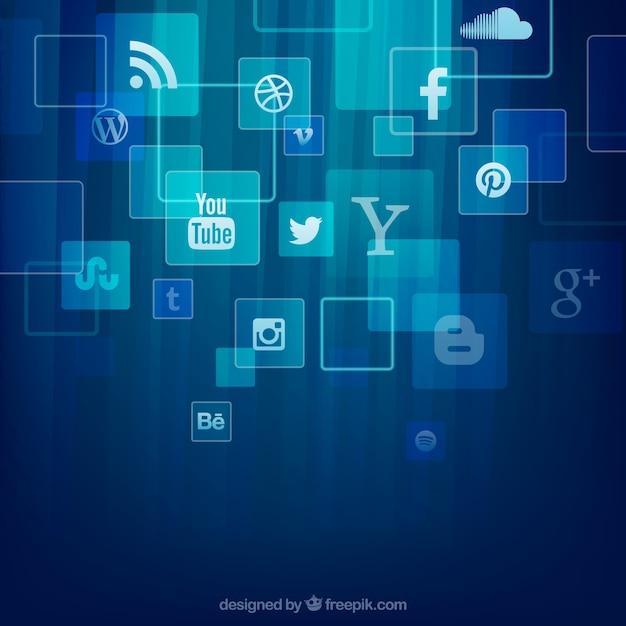 Ícones sociais dos media fundo Vetor grátis
