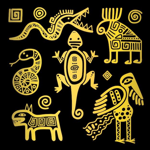 Ícones tribais dourados de cultura mexicana Vetor Premium