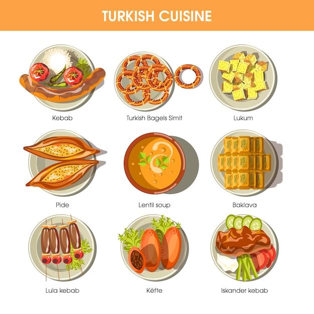 Ícones turcos do vetor da culinária da comida para o menu do restaurante. Vetor Premium