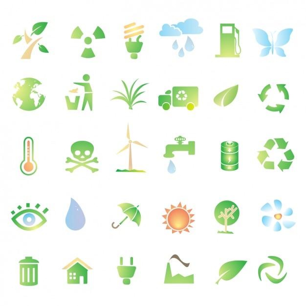 Ícones verdes sobre a reciclagem Vetor grátis